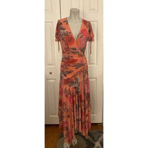 Maeve Anthropologie Orange Floral Ruched Maxi Dress XS